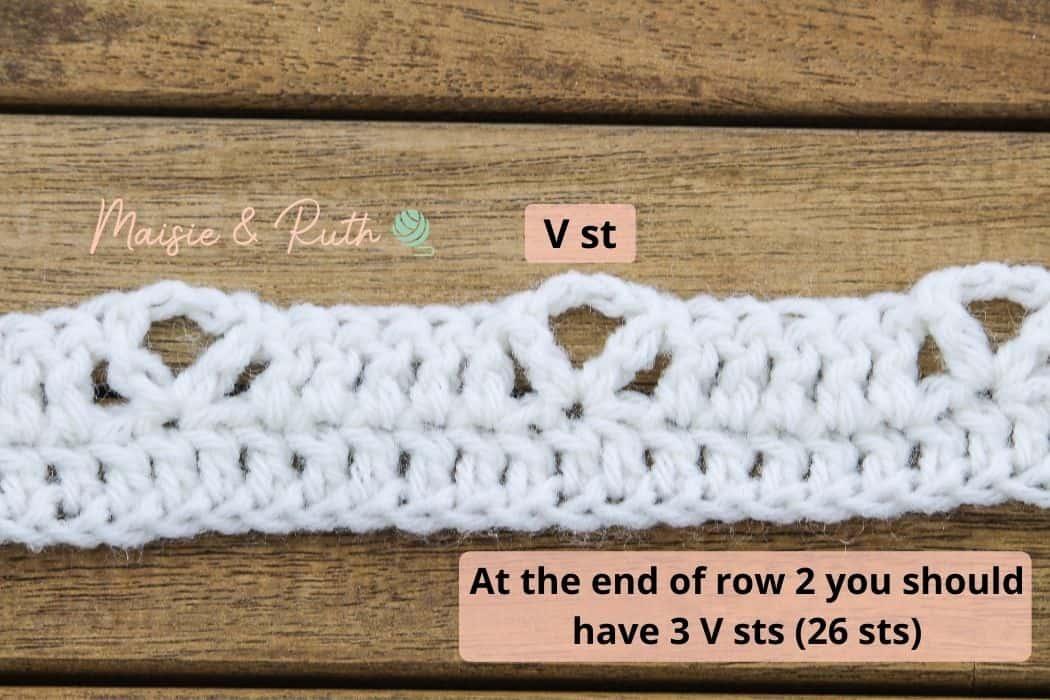 Crochet diamond trellis Stitch End of Row 2 Trellis