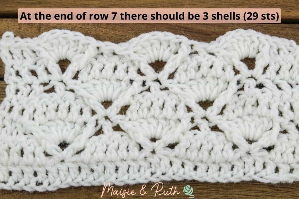Crochet Diamond Trellis Stitch End of Row 7 trellis