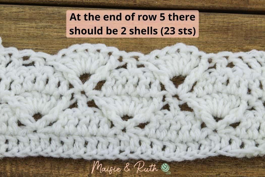 End of row 5 Diamond Stitch