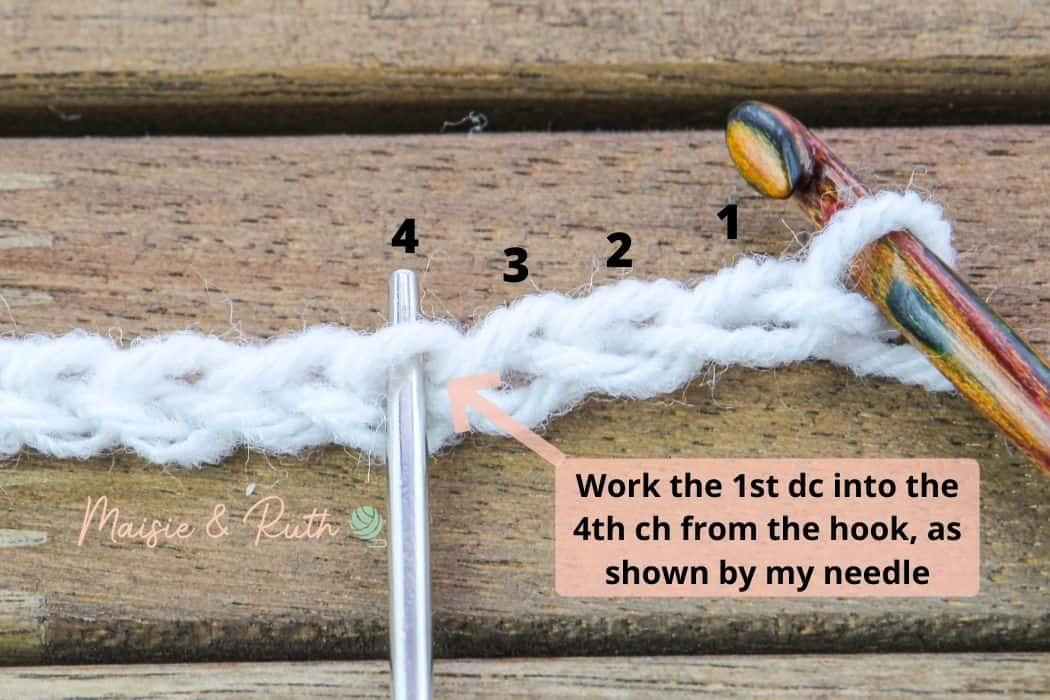 Crochet Diamond Trellis Stitch row 1a