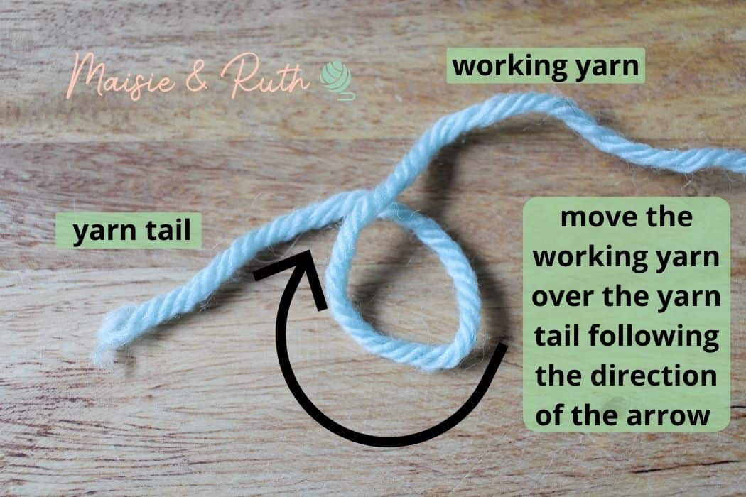 How to Crochet in the round Magic Circle Step 1