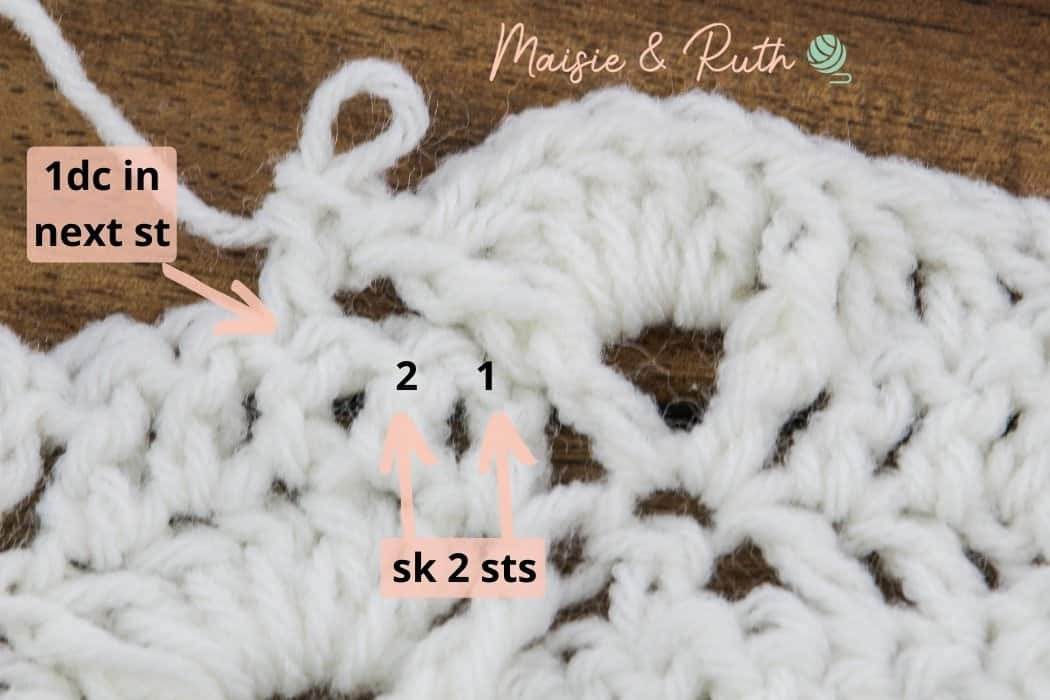Crochet Diamond Trellis Stitch Row 7 ci