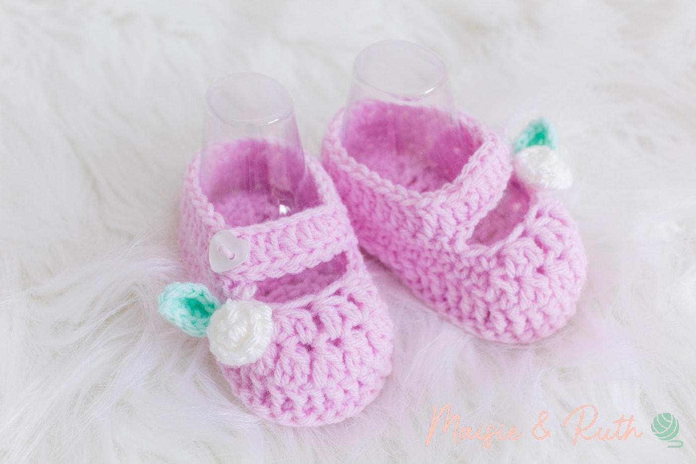 Crochet Baby Booties Pattern Pink Shoe
