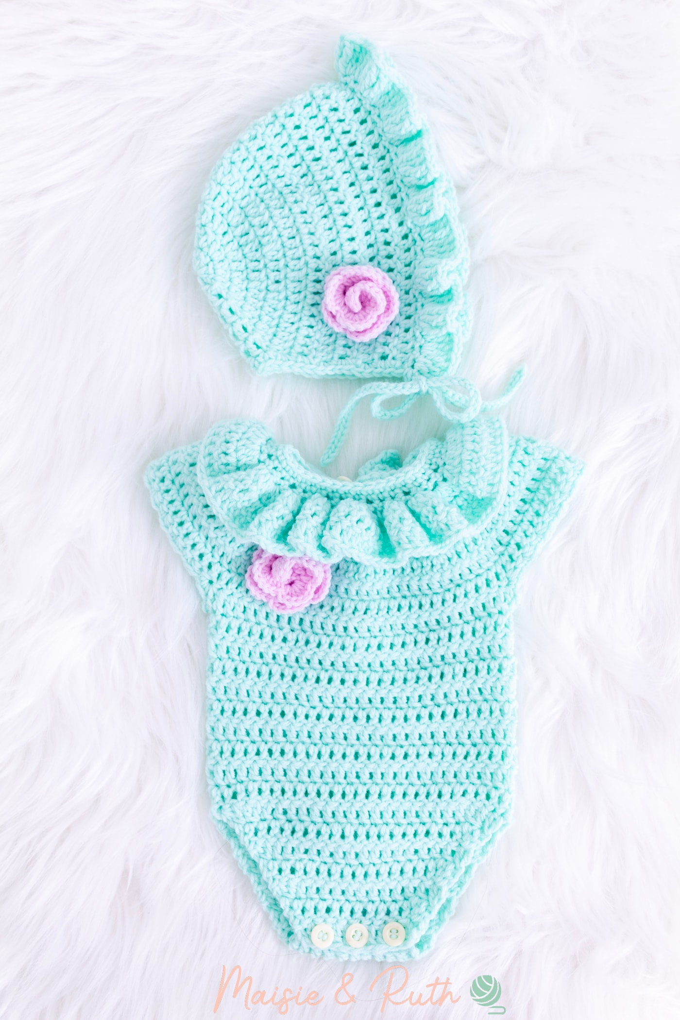 Crochet Baby Hat Pattern with Green Romper
