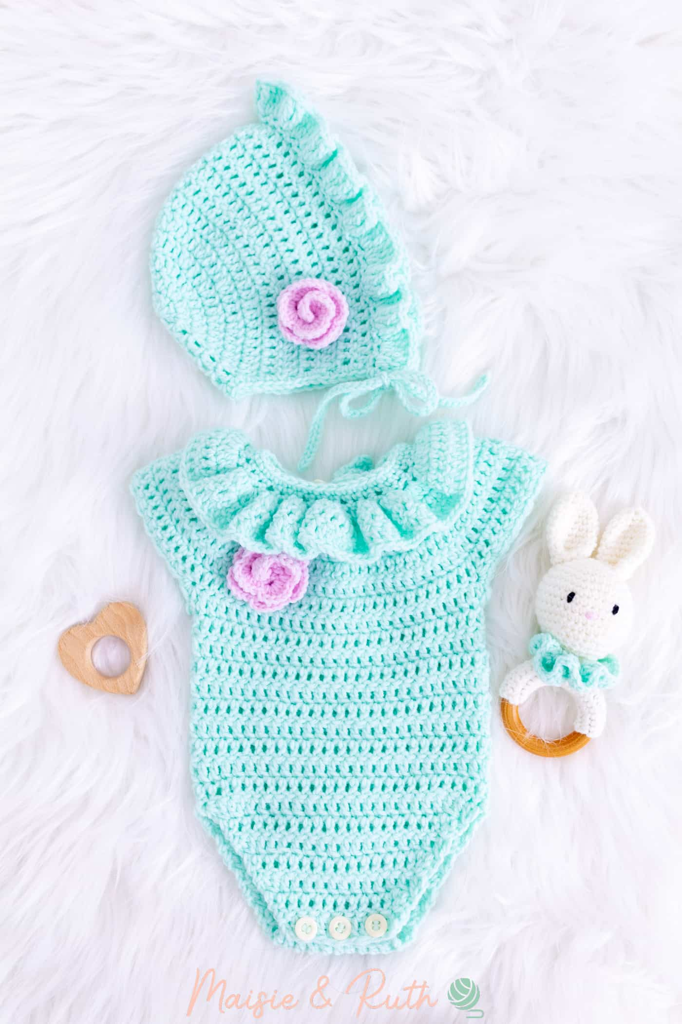 Crochet Baby Romper Layette with Bunny