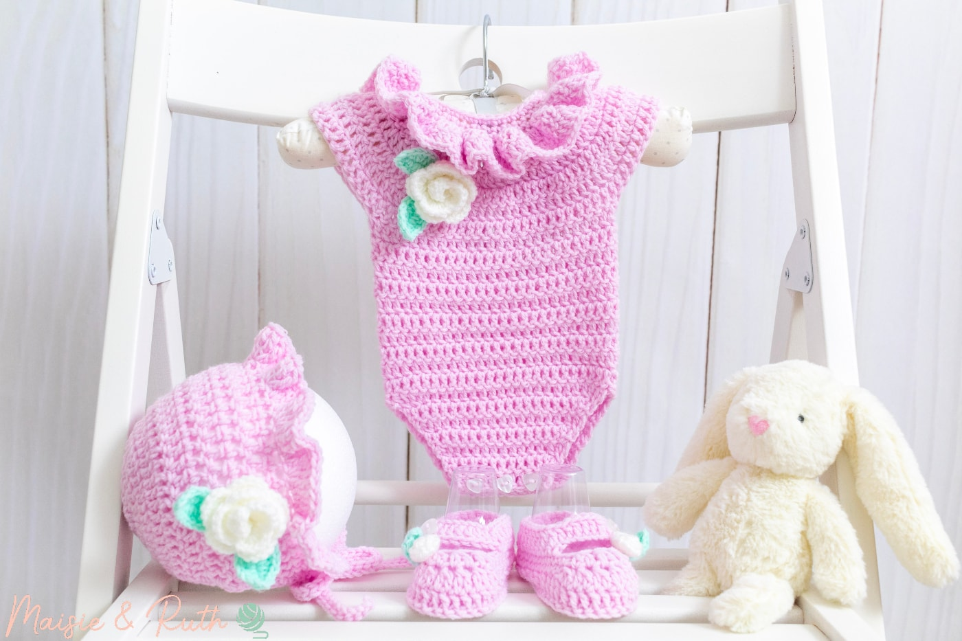 Crochet Baby Romper with bonnet and booties