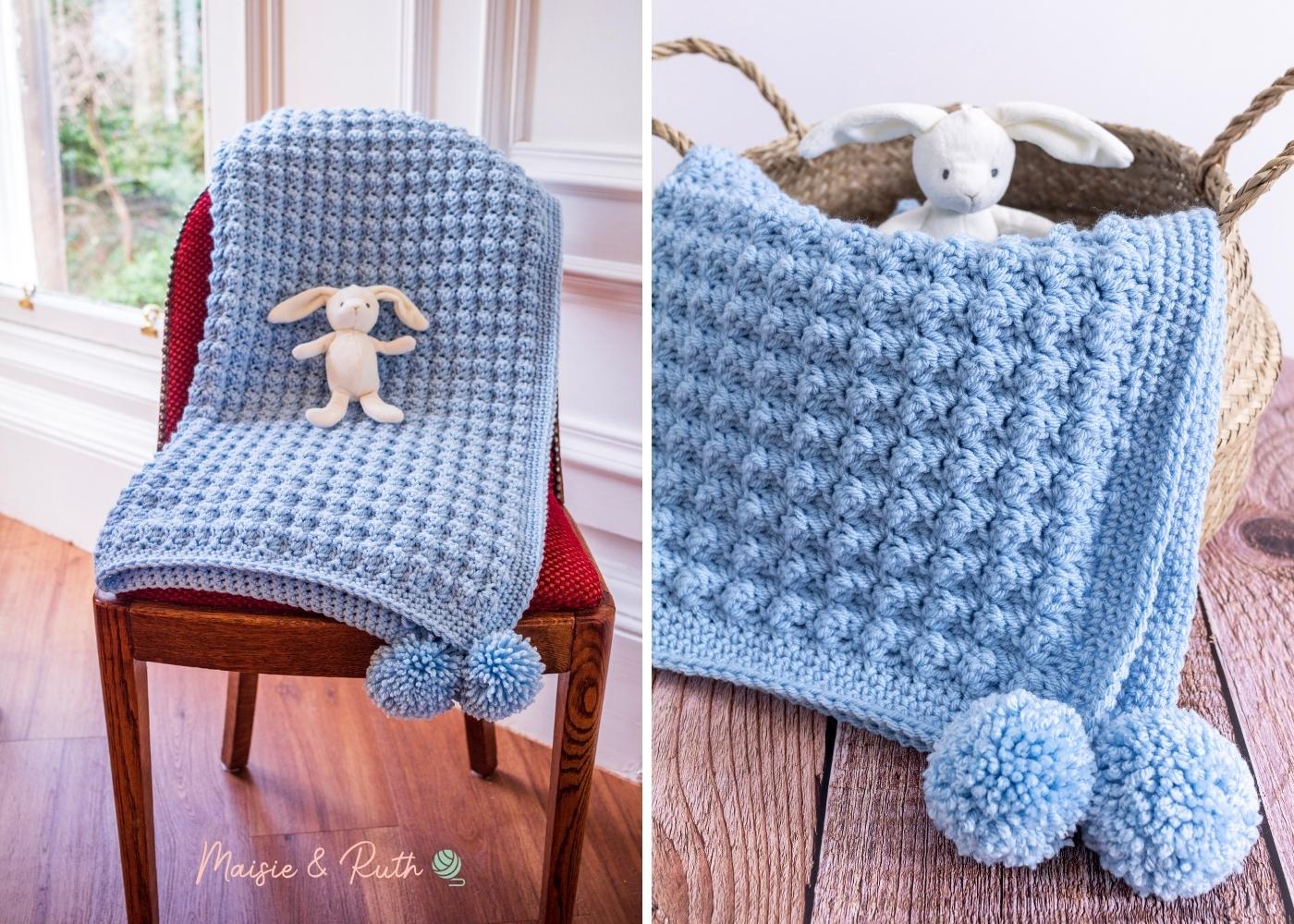 Easy Crochet Baby Blanket Collage 1