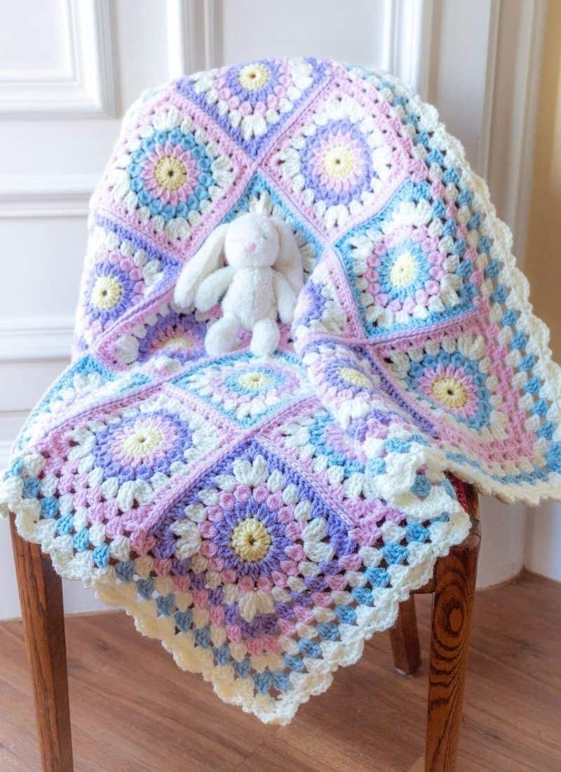Crochet Granny Square Blanket (The Paisley Baby Blanket)