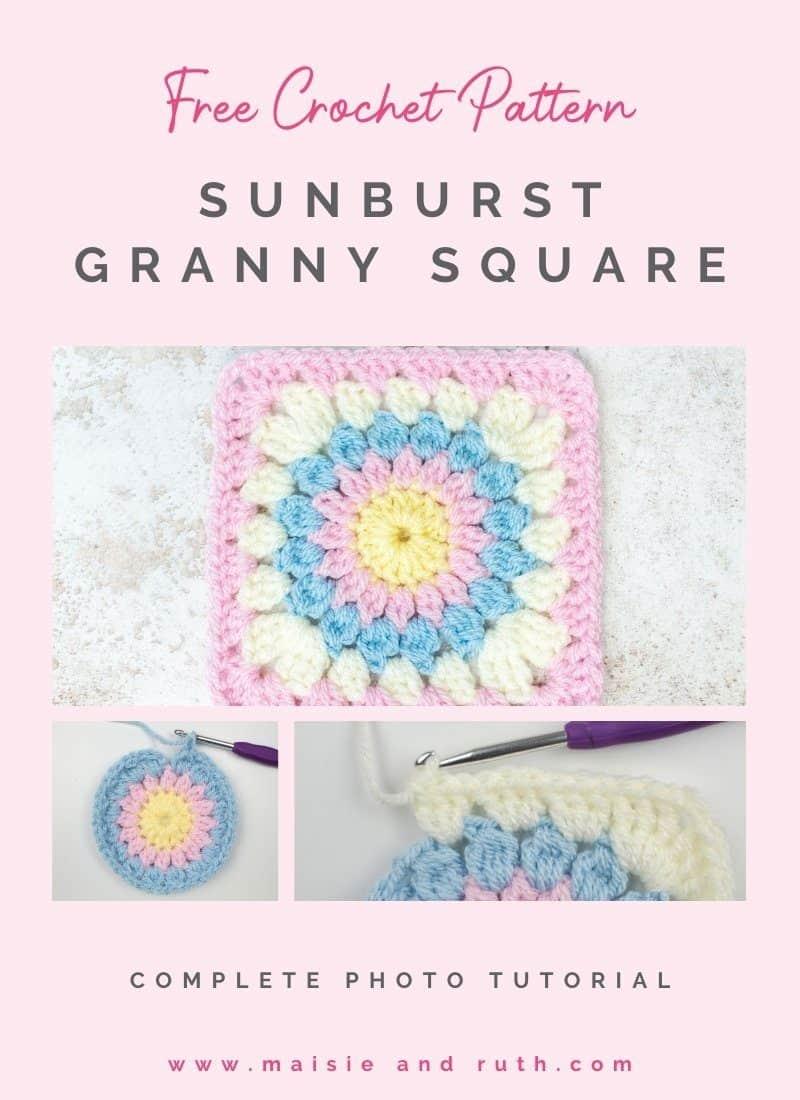 Crochet Sunburst Granny Square (Step-by-Step Tutorial)