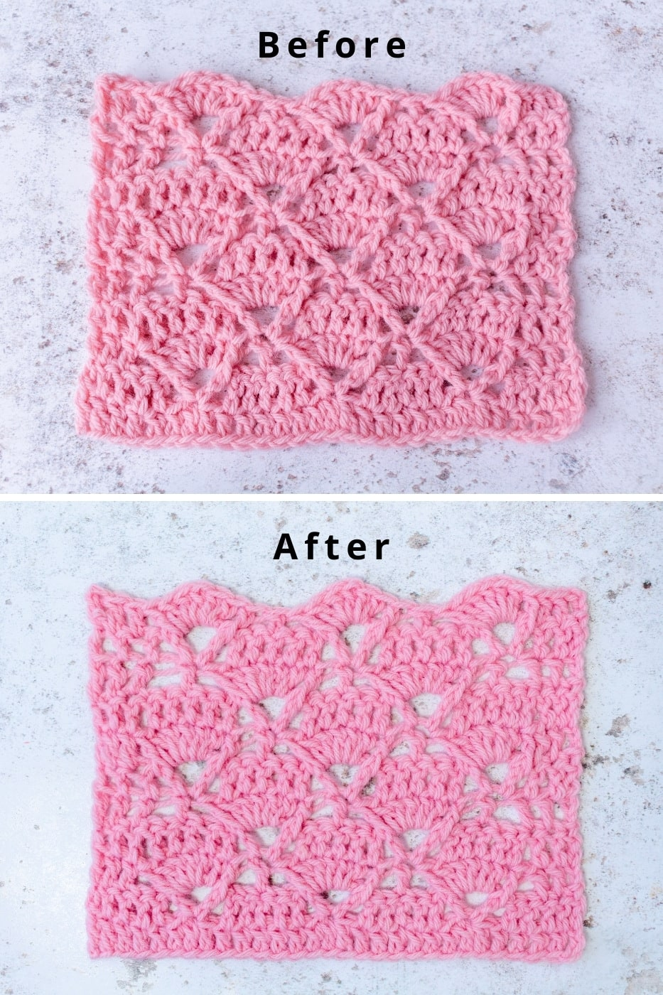 How to Block Crochet Before and After Image