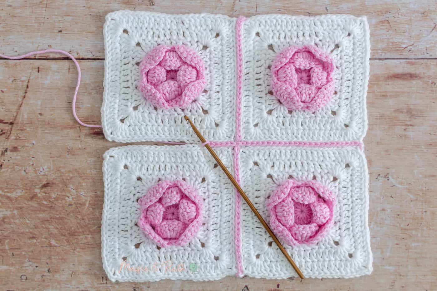Join Granny Squares Rose Example