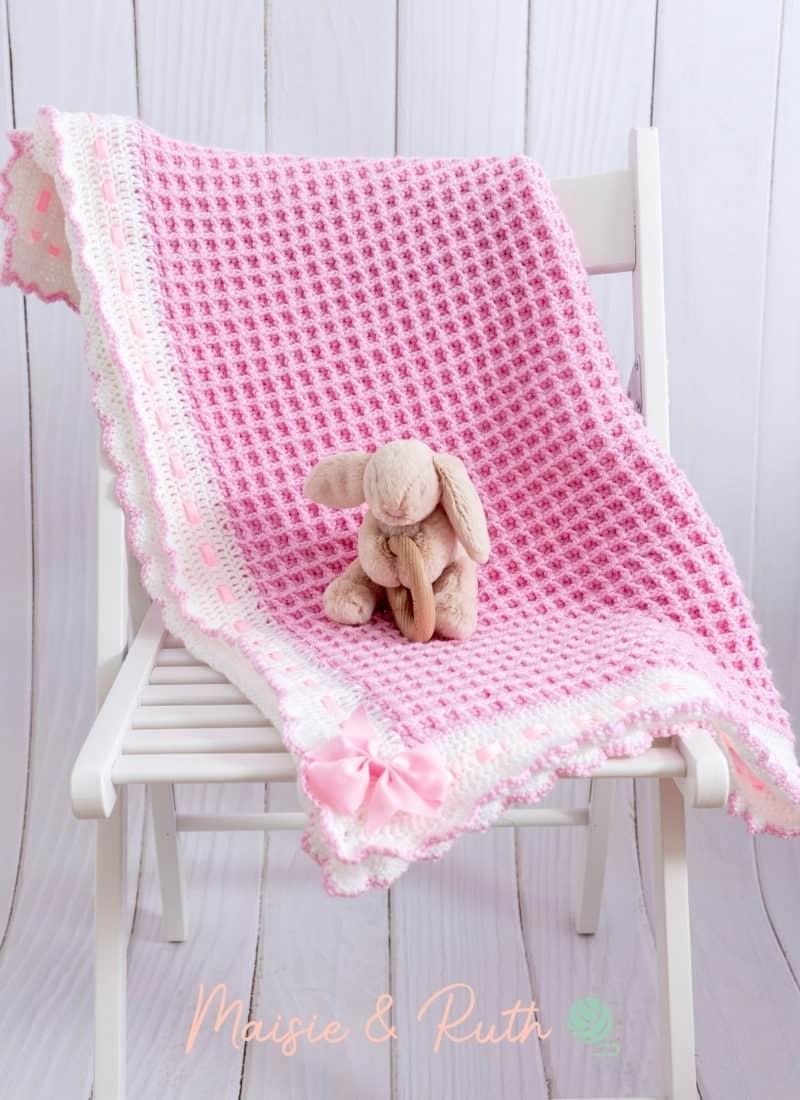 Crochet Waffle Stitch Baby Blanket (The Annabel Blanket)