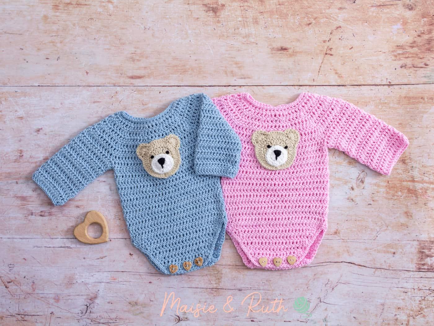 Crochet Baby Onesie Pattern Blue & Pink Versions