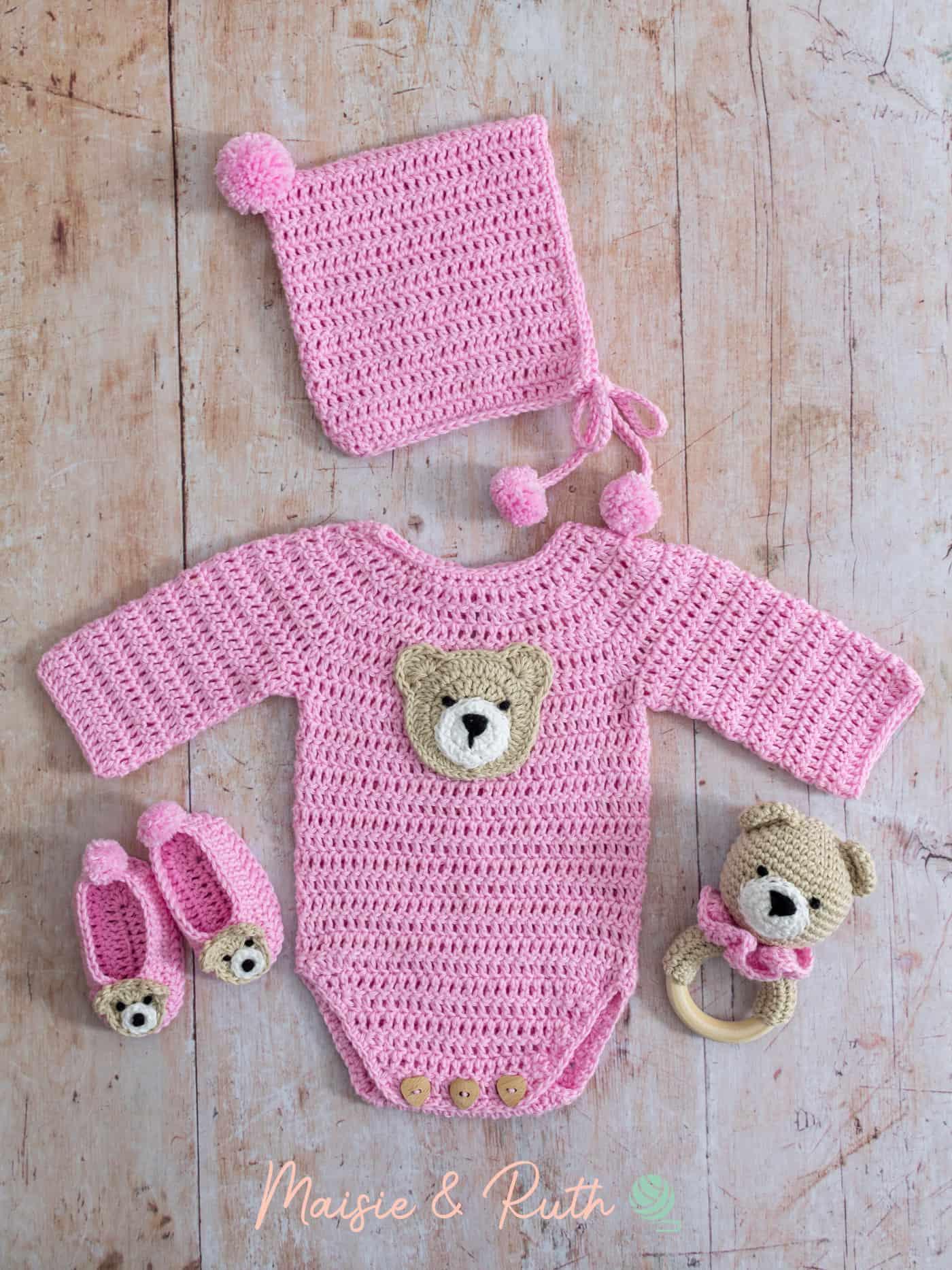 Crochet Baby Onesie Pattern Pink Layette
