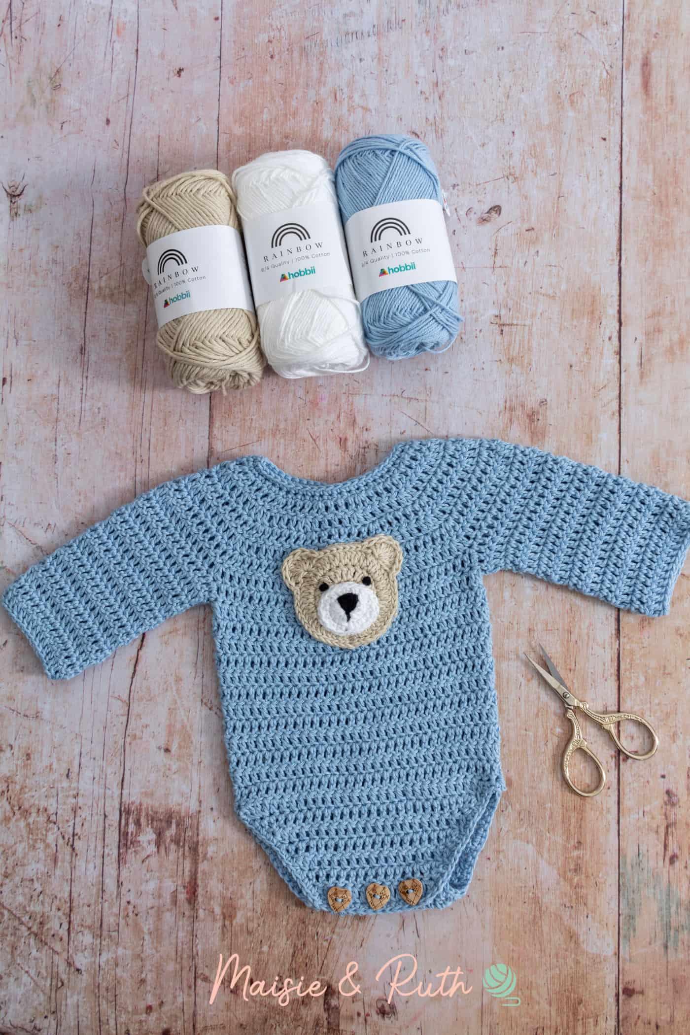 Crochet Baby Onesie Pattern Yarn Used