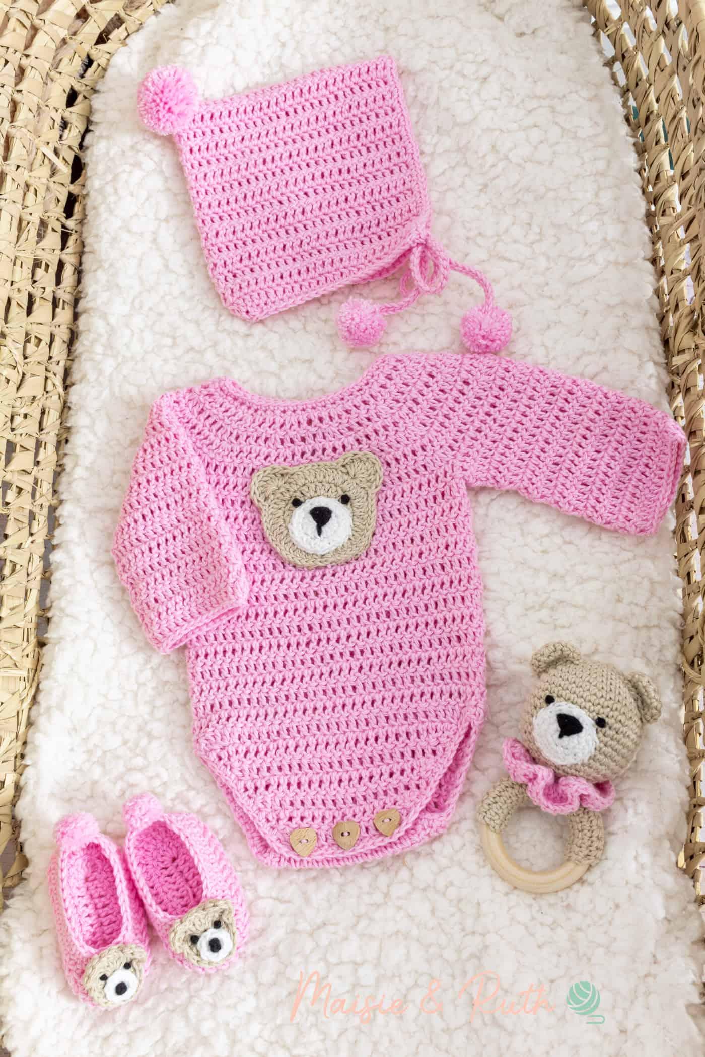 Crochet Baby Onesie Pattern in Bassinet