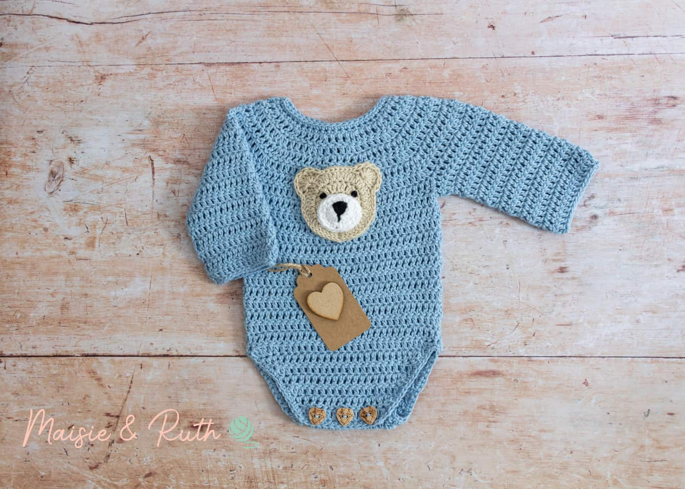 Crochet Baby Onesie Pattern with heart gift tag