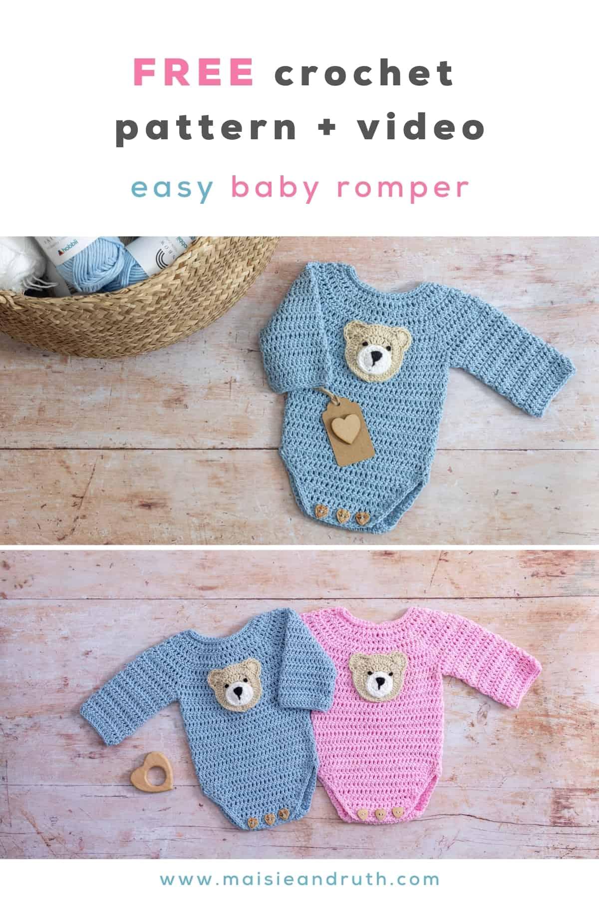 Crochet Baby Romper Free Pattern Pin 1