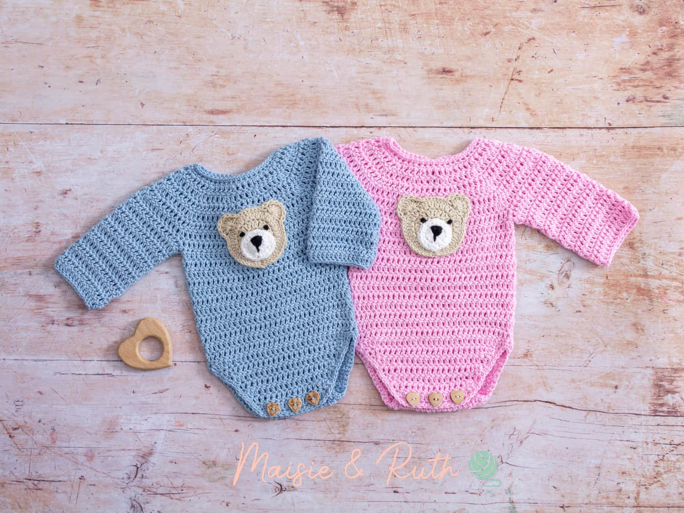 How to Crochet Bear Applique Blue and Pink