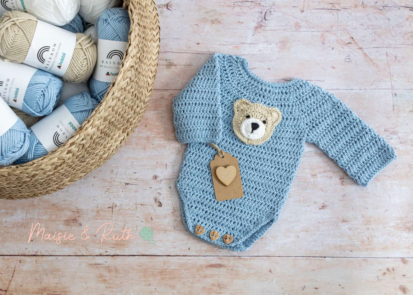 crochet Baby Onesie Pattern with basket