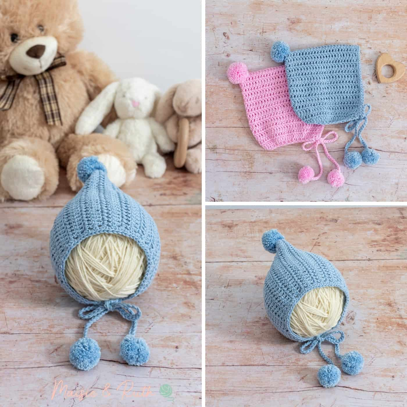 Easy Crochet Baby Bonnet Pattern Collage Photo v.2