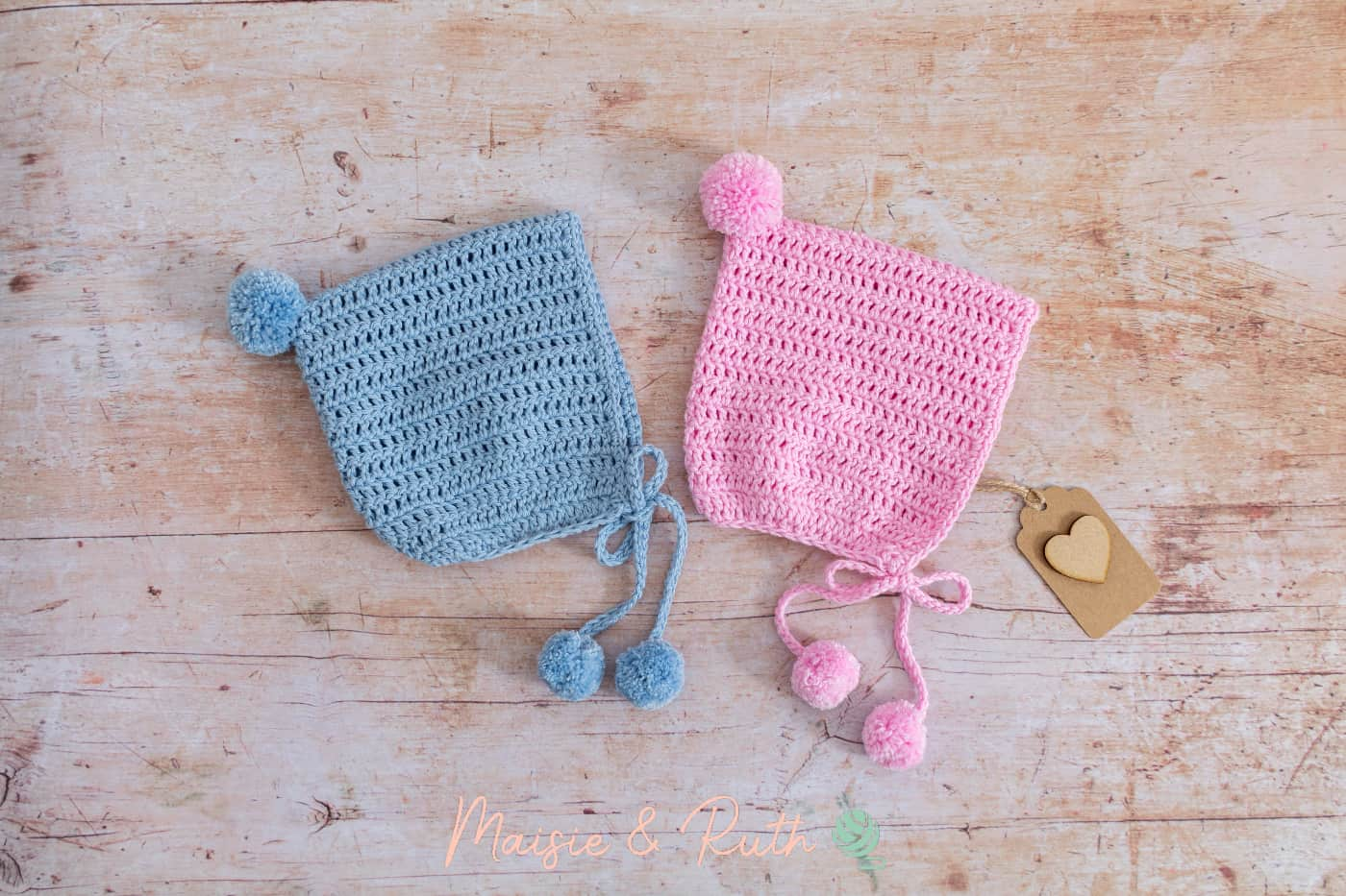 Easy Crochet Baby Bonnet Pattern Pink and Blue