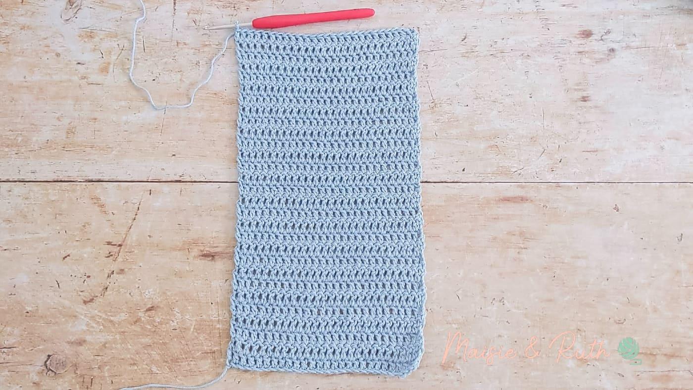 Easy Crochet Baby Bonnet Pattern rectangle ready to seam