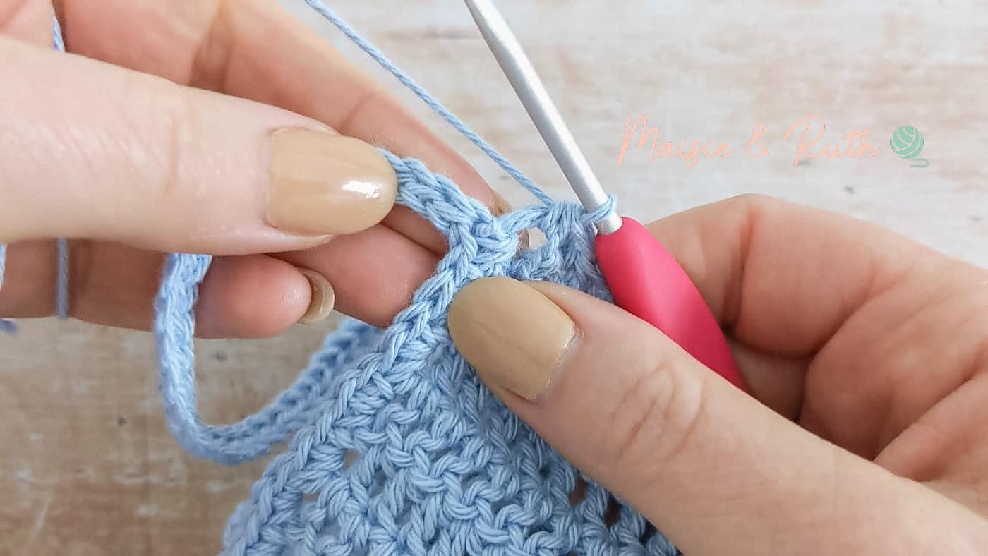 Easy Crochet Baby Bonnet Pattern sl st to 2nd tie