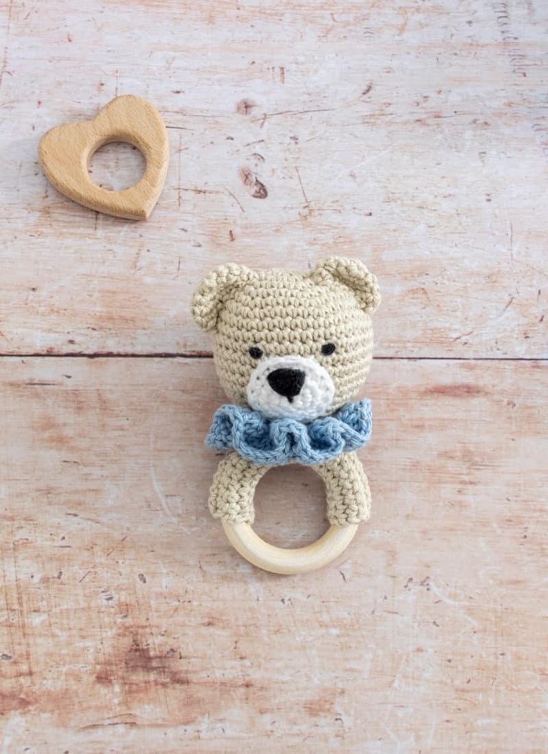 How to Crochet a Baby Rattle (Teddy Bear Teether)