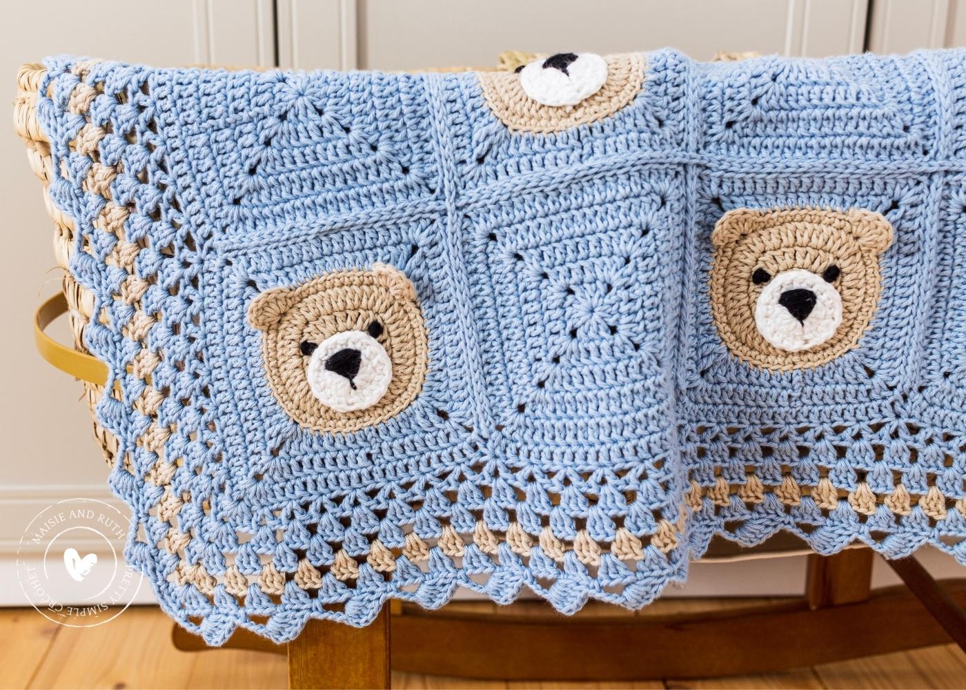 Bear Crochet Baby Blanket Close up of side of blanket