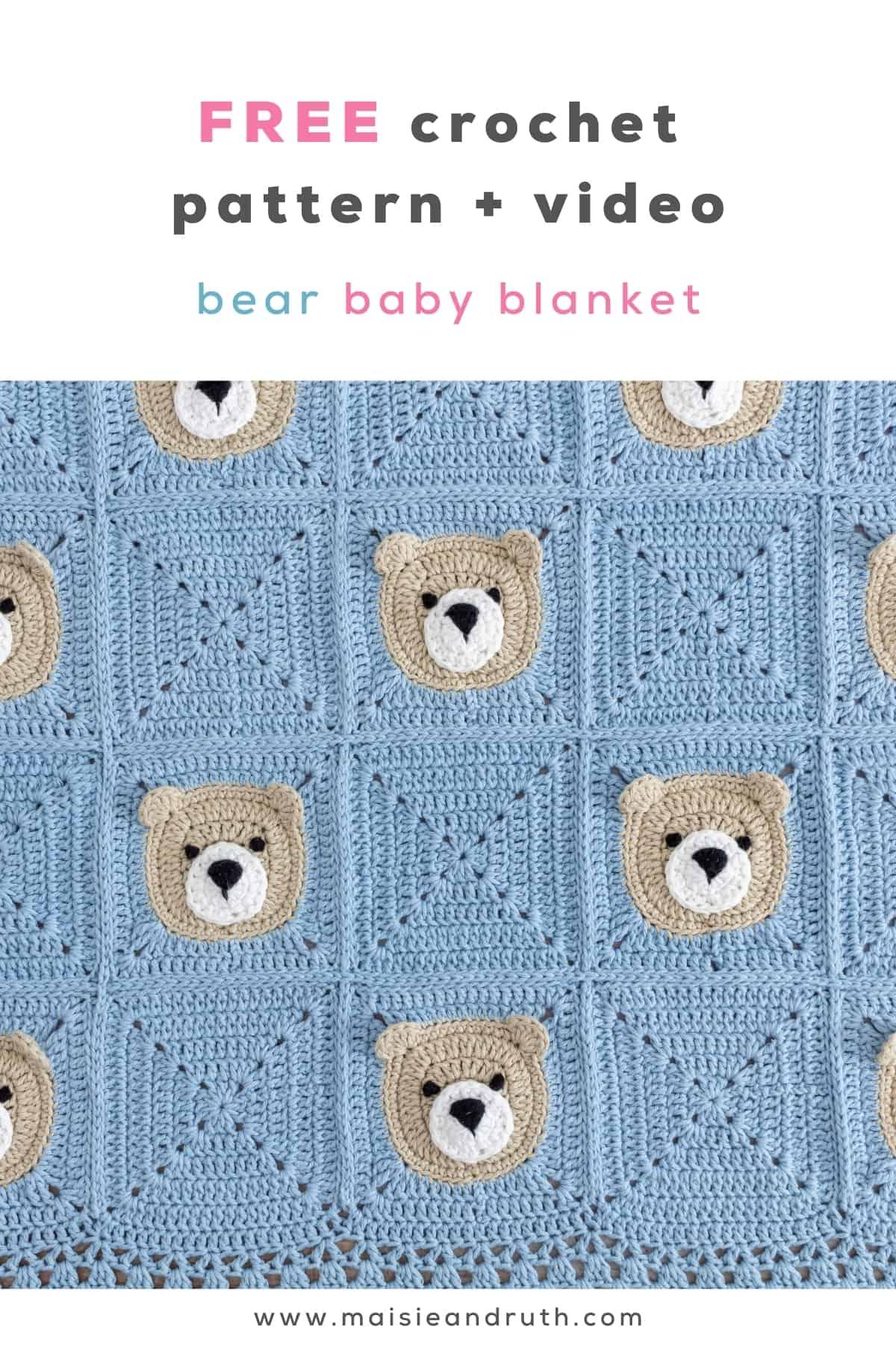 Bear Crochet Baby Blanket Free Pattern Pin 1