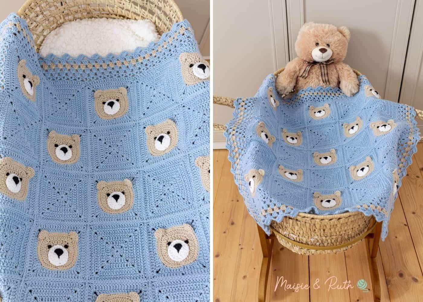 Bear Crochet Baby Blanket In Bassinet with Teddy