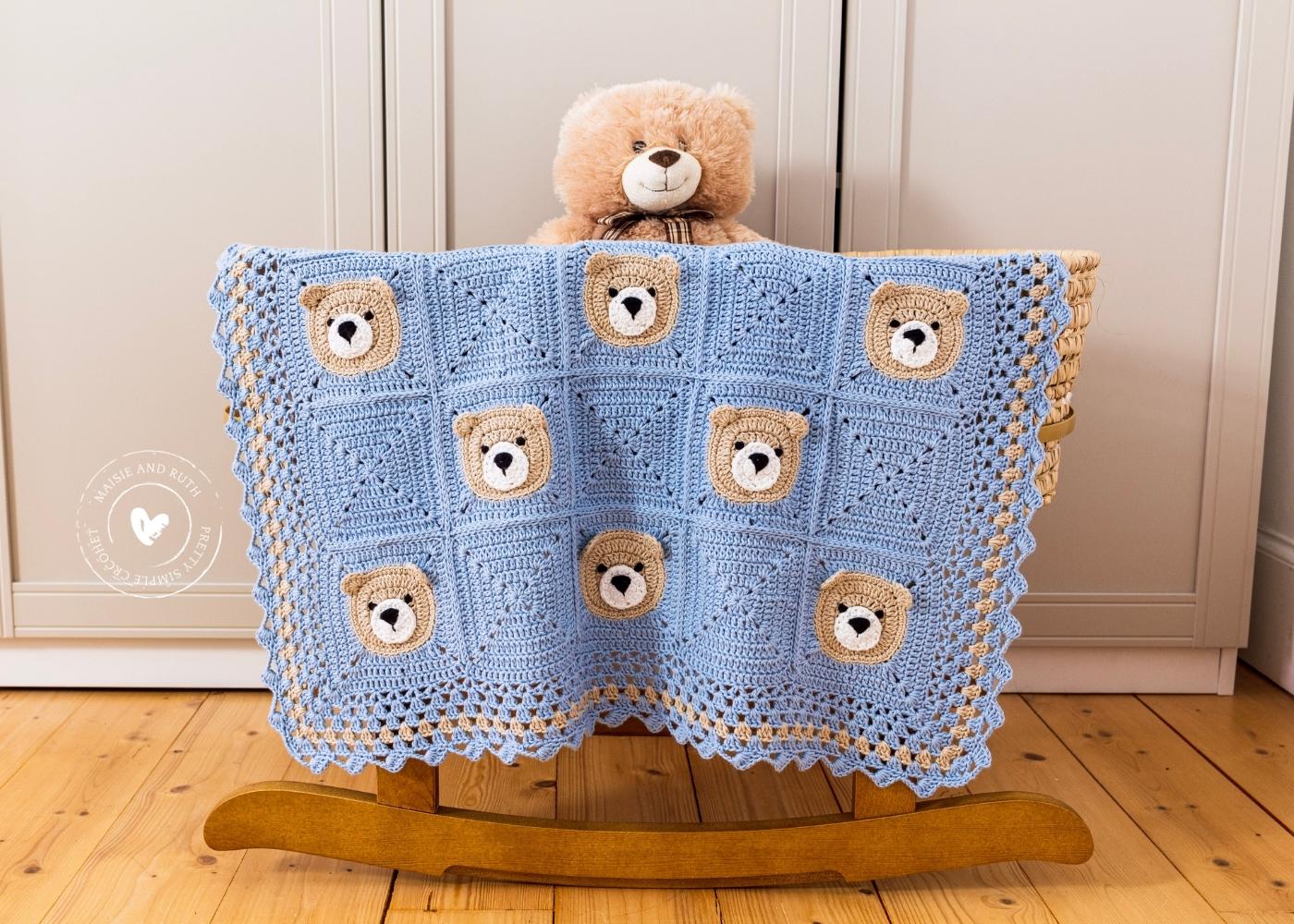 Bear Crochet Baby Blanket Teddy Showcasing it
