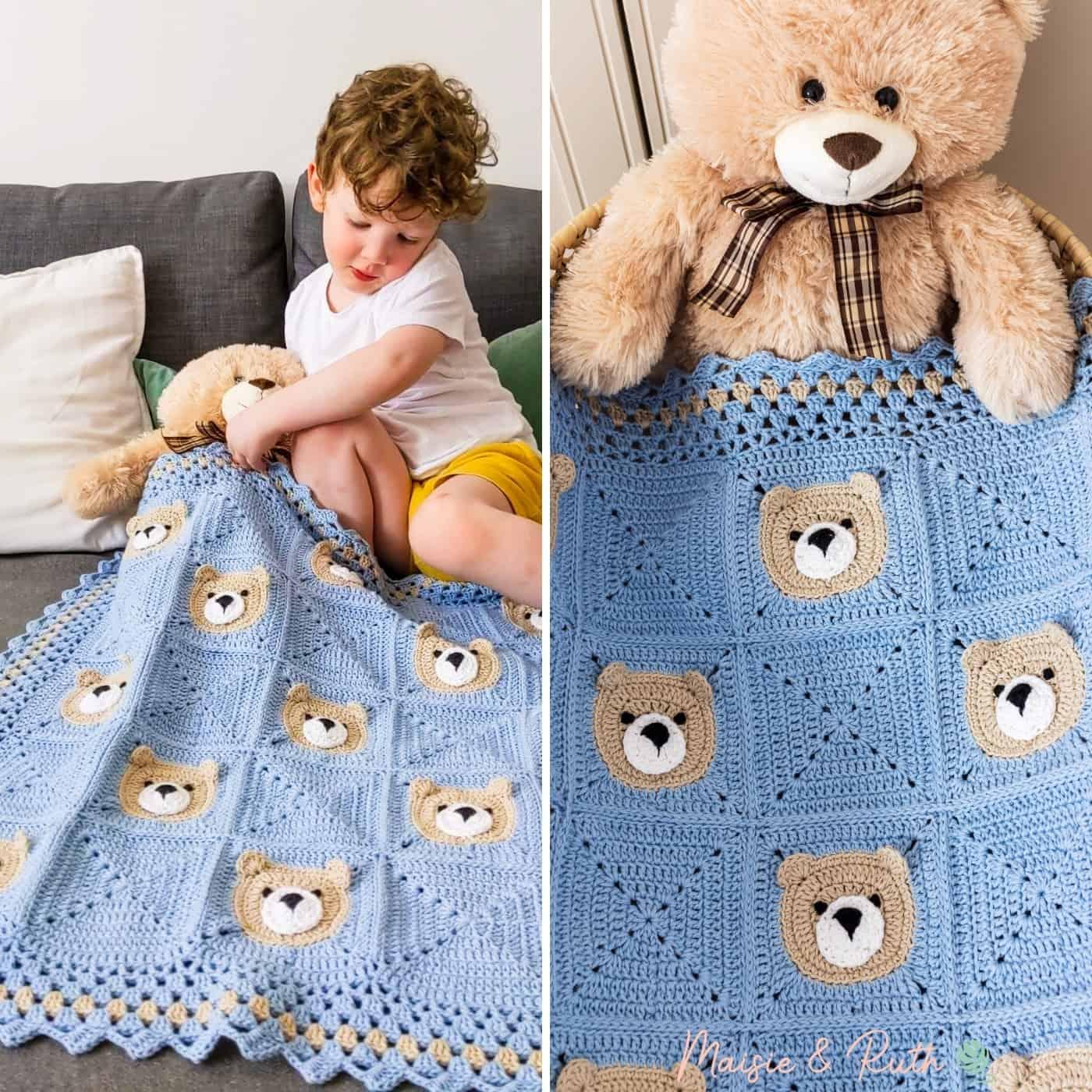 Bear Crochet Baby Blanket with Toddler