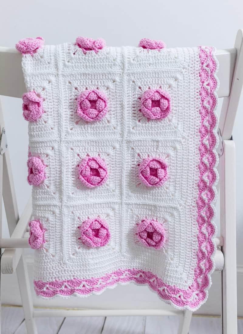 Crochet Rose Baby Blanket (A Delightful Free Pattern)