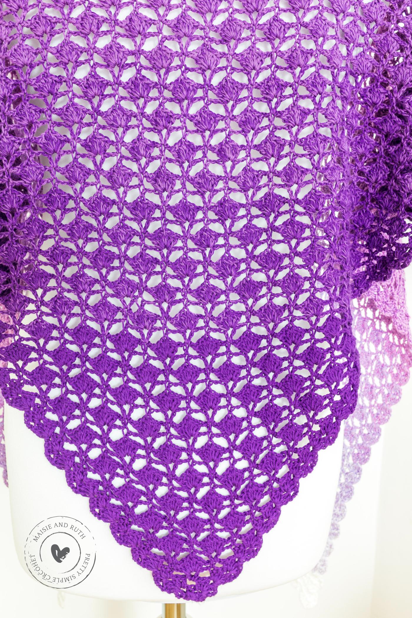 Free Crochet Shawl Pattern Closeup of shell st