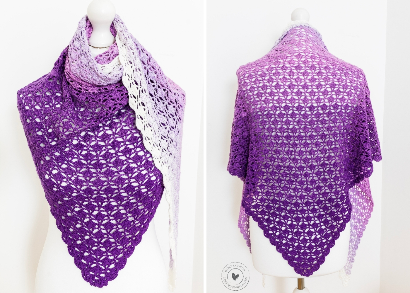 Free Crochet Shawl Pattern two view on the tailors dummy