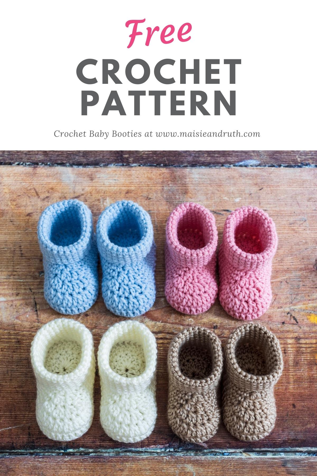 Classic Crochet Baby Booties Pin 1