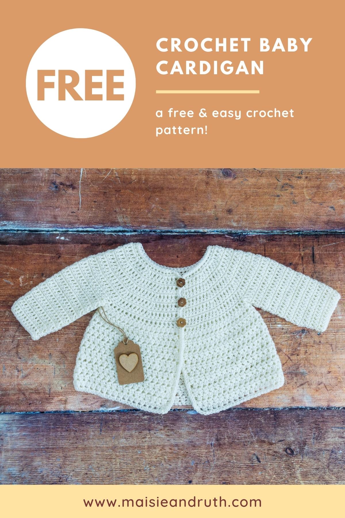 Crochet Baby Cardigan Free Crochet Pattern Pin 1