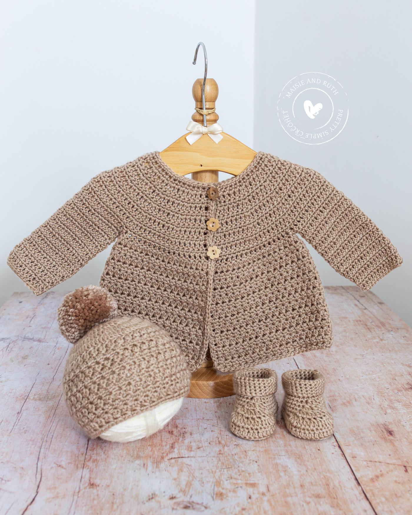 Crochet Baby Cardigan Pattern Beige Layette