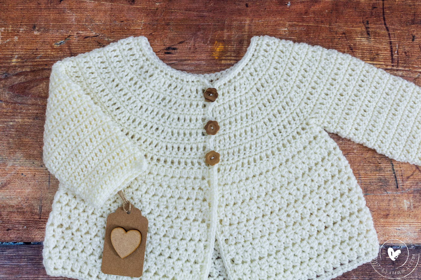 Crochet Baby Cardigan Pattern with Gift Tag