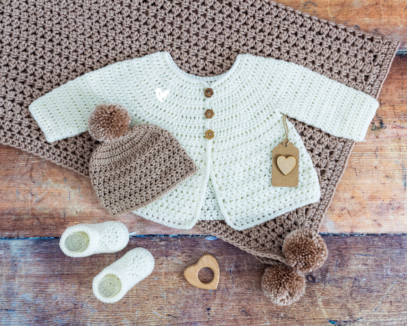 Crochet Baby Cardigan Pattern with blanket and other items
