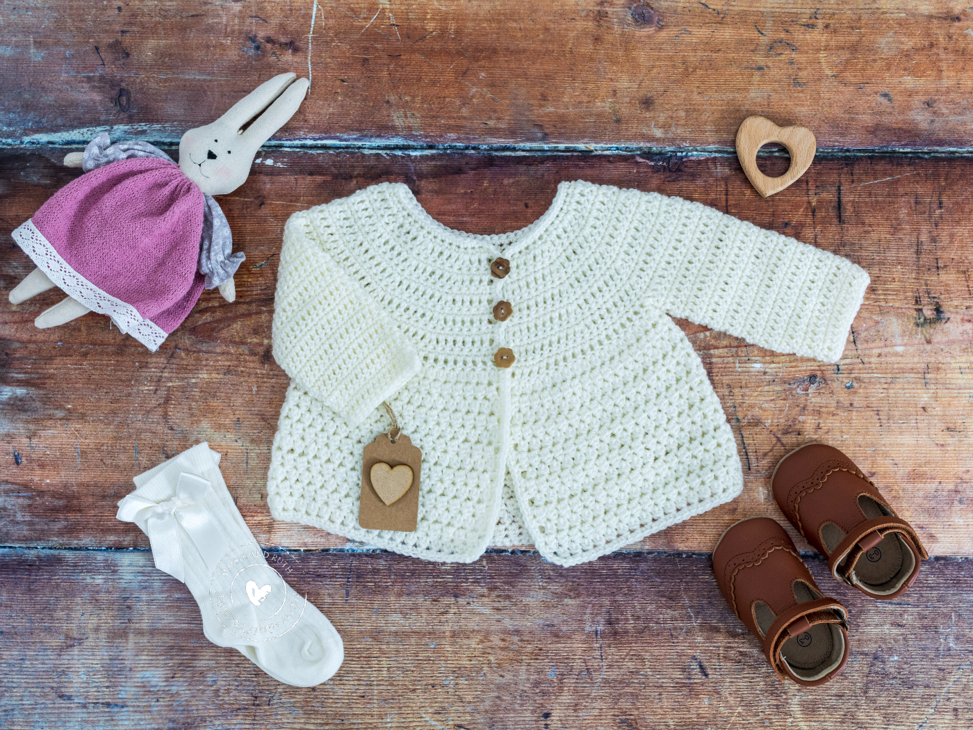 Crochet Baby Cardigan Pattern with socks and bunny