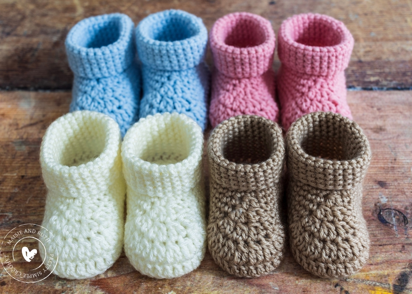 Fast Crochet Baby Booties assortment of colours