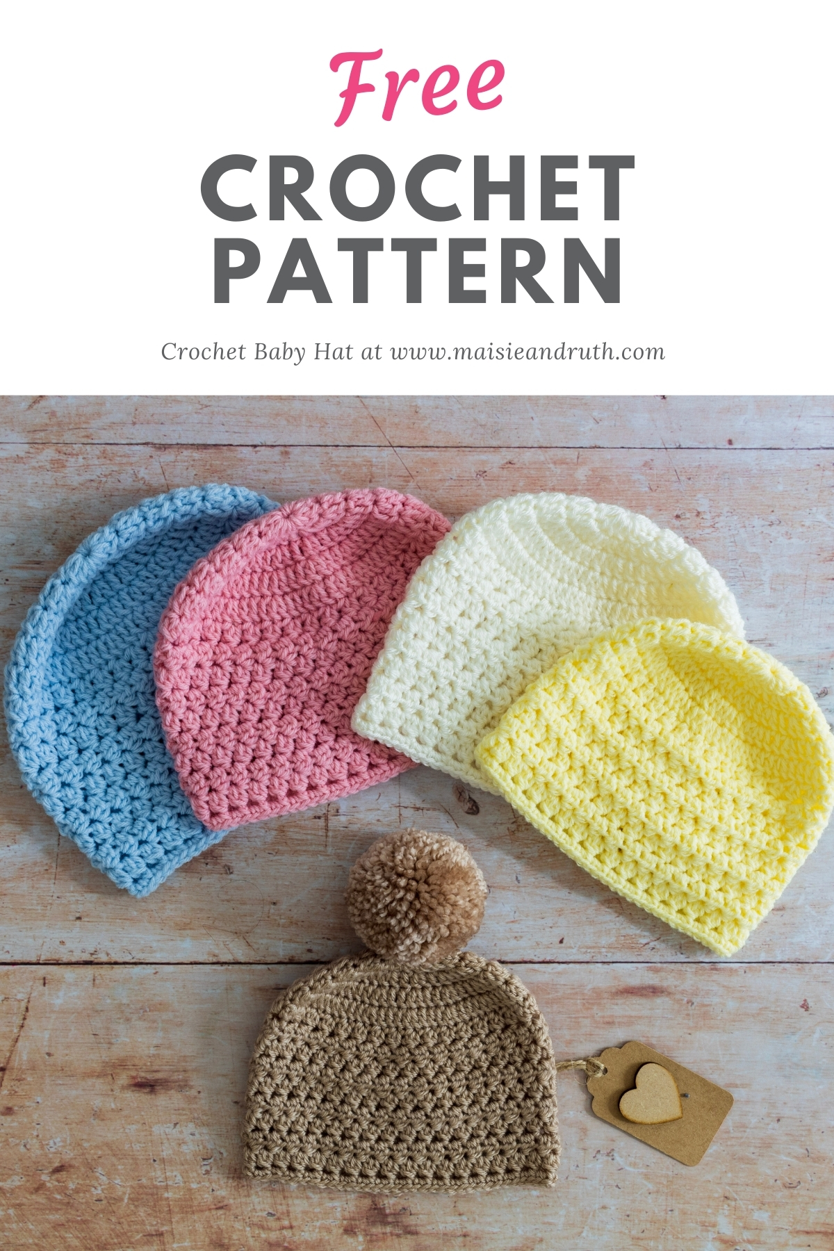 Crochet Baby Hat Free Crochet Pattern Pin 1