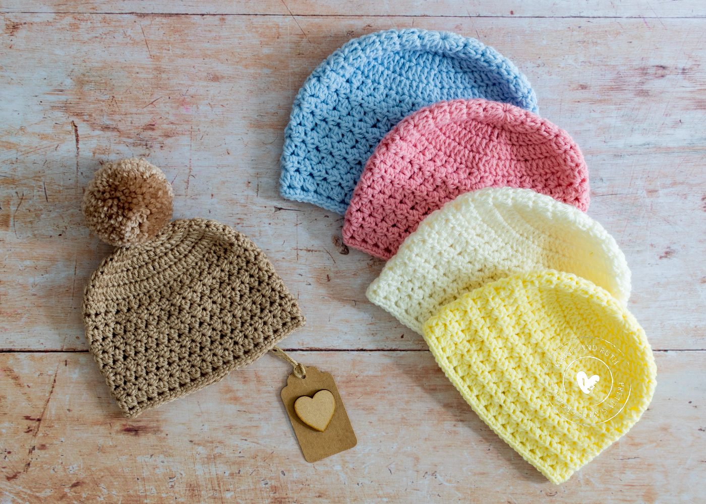 Easy Crochet Baby Hat all 5 colours